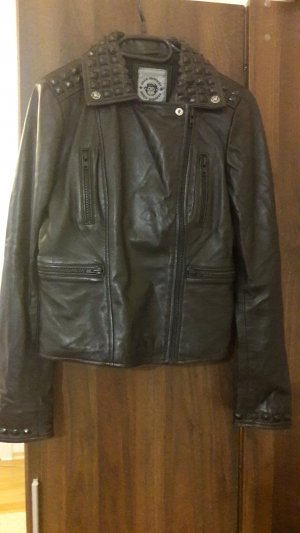Blue Monkey Leather Jacket black leather