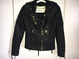 Boda Skins Chaqueta de motociclista negro-color oro