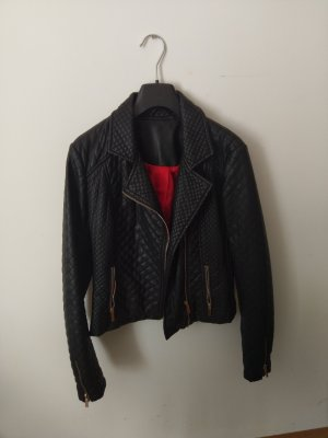 Veste en cuir noir-rouge polyuréthane