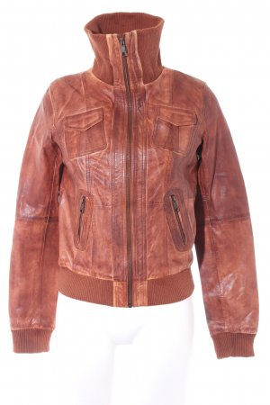 Leather Jacket cognac-coloured casual look