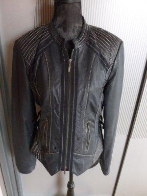 Biba Leather Jacket black-dark blue