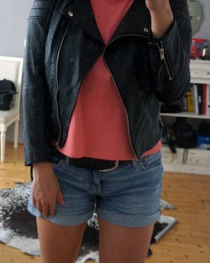 H&M Faux Leather Jacket multicolored viscose
