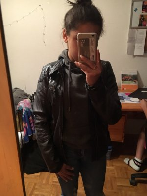 Leather Jacket black-blackberry-red