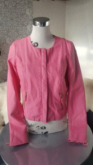 Lederjacke Gr. L 38 pink neuwertig Biker Style