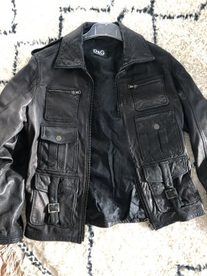 Dolce & Gabbana Leather Jacket black brown
