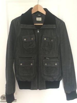Lederjacke grau schwarz Gr 40