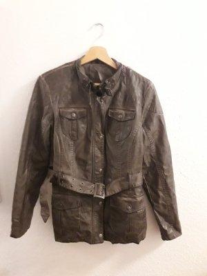 Adler Veste en cuir synthétique taupe-gris brun
