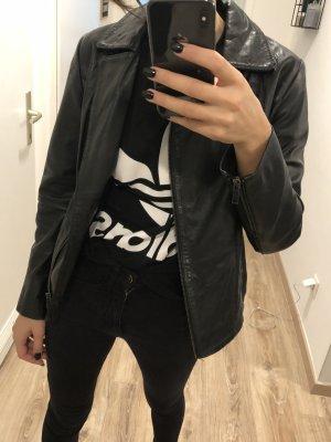 conbipel Veste en cuir noir