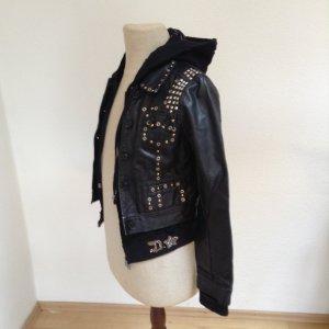 Lederjacke im Hoodystyle mit Reißverschluss