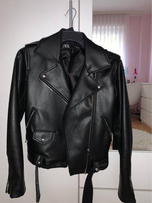Zara Chaqueta de motociclista negro Imitación de cuero