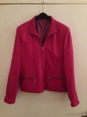Giacca in pelle magenta