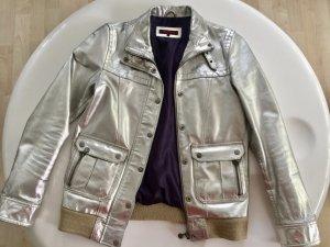 Lederjacke in Silber , M, aus der Vogue