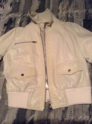 Lederjacke in weiß apart Lackleder