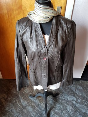Taifun Leather Blazer dark brown