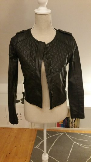 Lederjacke Leder Imitat schwarz