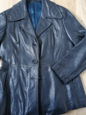 Lederjacke / Lederblazer / blau schwarz / Größe 42