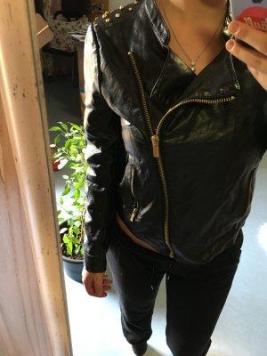 Amisu Chaqueta de cuero negro-color oro Imitación de cuero