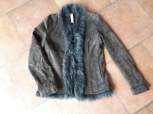 Closed Leather Jacket green grey-grey brown leather