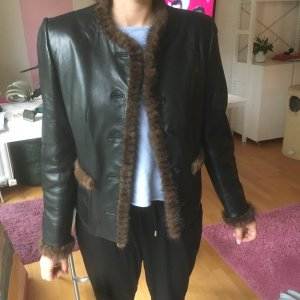 Veste en cuir noir-brun