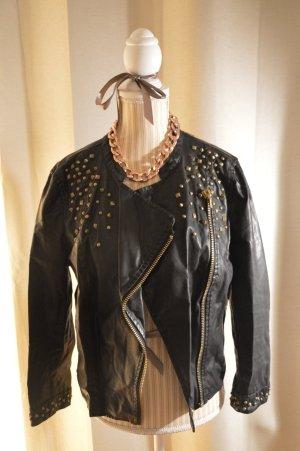 Zara Chaqueta de cuero negro-marrón arena Imitación de cuero