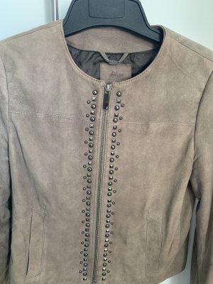 s.Oliver Leather Jacket grey brown