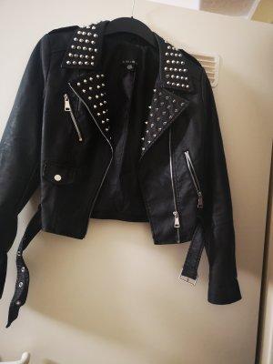 Amisu Faux Leather Jacket black-silver-colored imitation leather