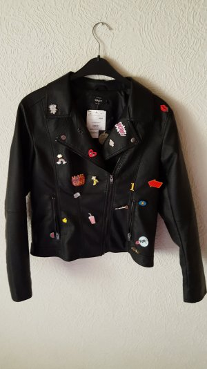 Lederjacke mit Statement Patches