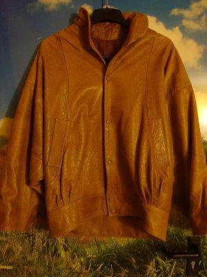 Veste en cuir cognac-marron clair cuir