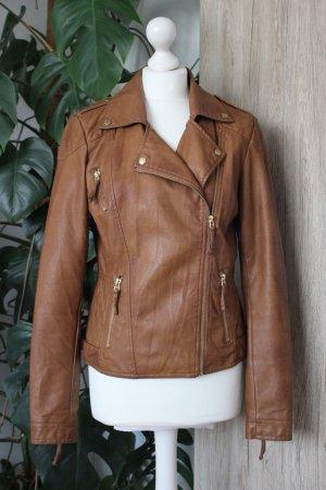 Lederjacke Mittelbraun Cognac Biker-Stil Jacke M 38