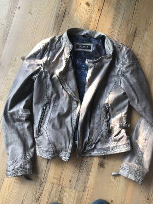 Oakwood Leather Jacket grey-light grey leather