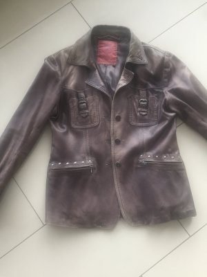 We are Replay Leather Jacket grey brown-dark grey leather