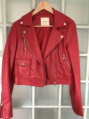 Bershka Faux Leather Jacket red-brick red