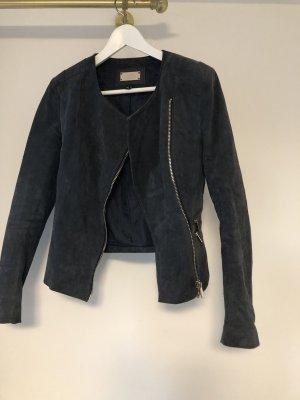 Mango Leather Jacket anthracite-dark grey