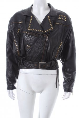 Lederjacke schwarz Biker-Look