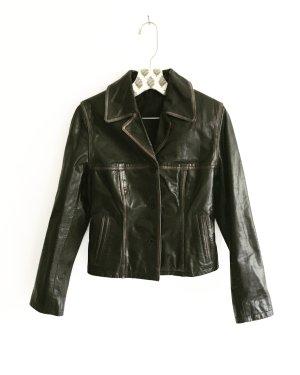 lederjacke / schwarz braun / vintage / edgy / echtleder / leather