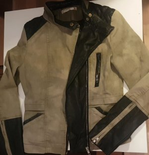 Lederjacke schwarz/grün