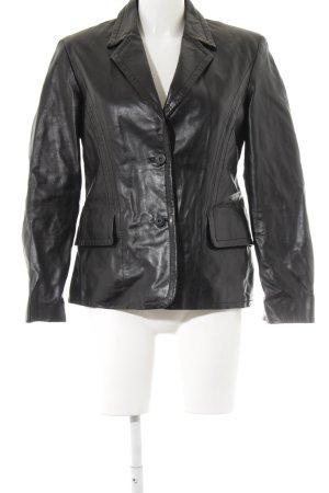 Lederjacke schwarz klassischer Stil