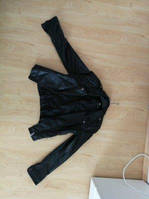 Lederjacke schwarz (Kunstleder)