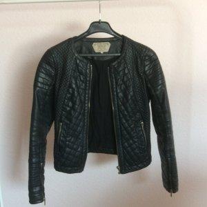 Zara Veste en cuir noir-brun sable faux cuir