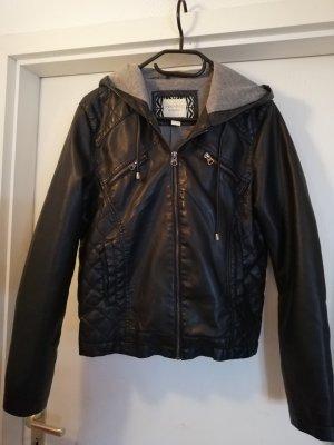 Lederjacke schwarz mit Kaputz 40