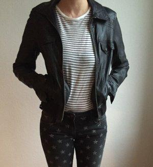 Lederjacke schwarz Zara Größe 36