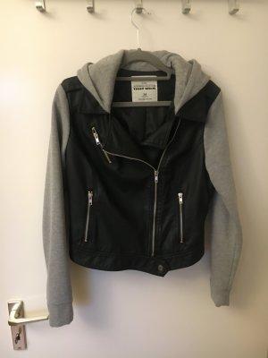 Lederjacke Sweatshirt 38 36 schwarz grau