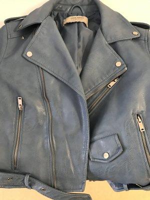 Lederjacke Taubenblau Zara