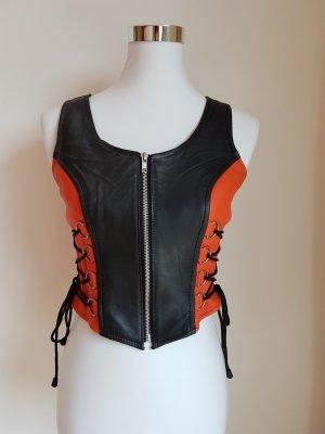 Lederjacke / Top in den Harley Davidson Farben Schwarz und Orange