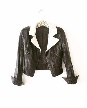lederjacke • vegan leather • vintage • dunkelbraun • creme • bohostyle • hippielook
