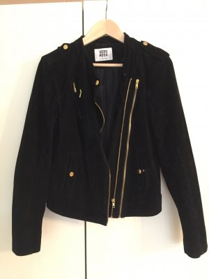 Vero Moda Leather Jacket black-gold-colored leather
