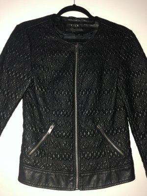 Vila Faux Leather Jacket black-silver-colored