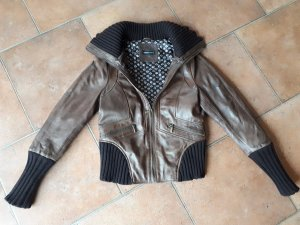 Arma Women Leather Jacket brown-dark brown leather