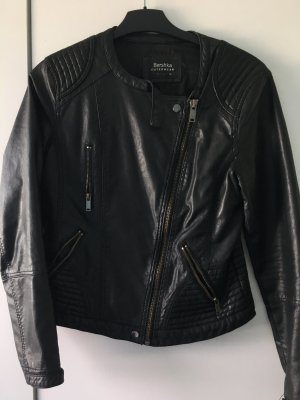 Bershka Faux Leather Jacket black-silver-colored