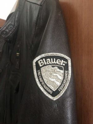 Blauer Giacca in pelle marrone scuro Pelle